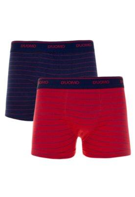 Kit 2 Cuecas Duomo Boxer Striped Vermelha/Azul