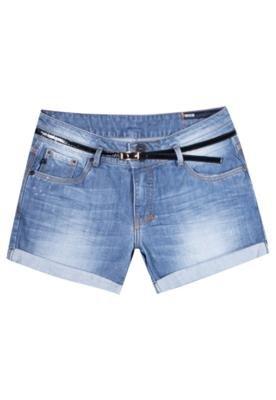 Bermuda Jeans Forum Giane Cinto Slim Azul