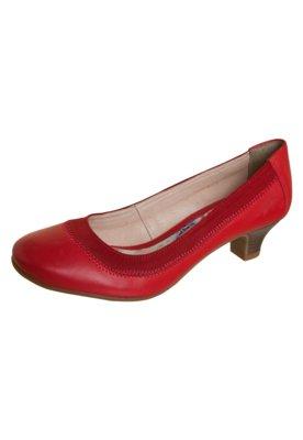 Sapato Scarpin Bottero Salto Baixo Elástico Vermelho