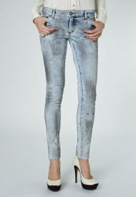 Calça Jeans Espaço Fashion Skinny Manchas Metal Azul