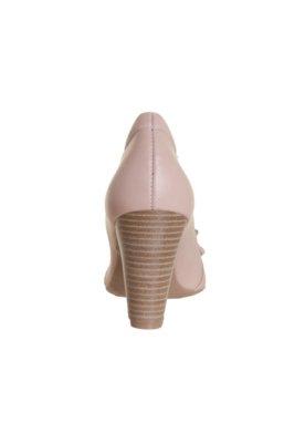 Sapato Scarpin Dayflex Salto Grosso Laço Fivela Pedraria Nu...