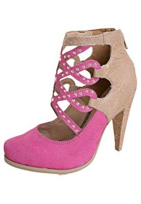 Sapato Scarpin Mix Texturas Vazado Rosa - Tanara