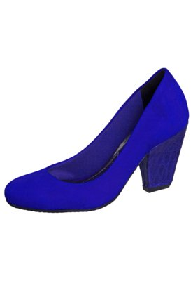 Sapato Scarpin Via Marte Textura Azul