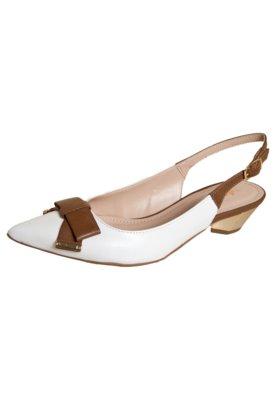 Sapato Scarpin Datelli Chanel Bicolor Laço Branco