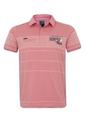 Camisa Polo Gangster Bordada Rosa