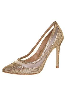 Sapato Scarpin FiveBlu Tela Favo Dourado