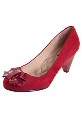 Sapato Scarpin Veludo Vermelho - Moleca