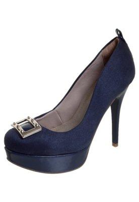 Sapato Scarpin Meia-Pata Fivela Azul - Bebecê