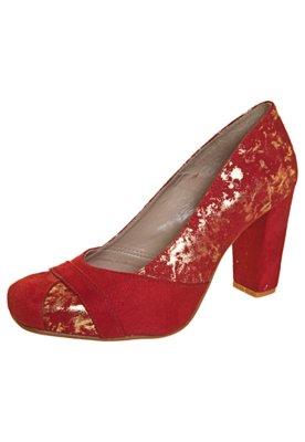 Sapato Scarpin Anna Flynn Craquelado Vermelho