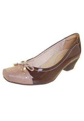 Sapato Scarpin Bebecê Bico Quadrado Biqueira Marrom