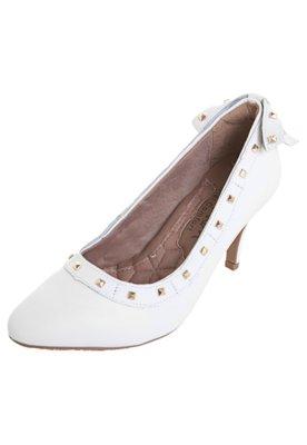 Sapato Scarpin Ramarim Laço Tachas Branco