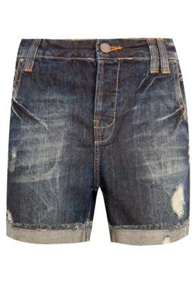 Bermuda Jeans Shoulder Boyfriend Puídos Azul
