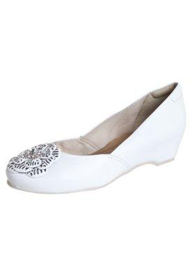 Sapato Scarpin Dayflex Anabela Embutida Flor Strass Branco
