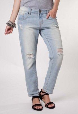 Calça Jeans Canal Boyfriend Desfiados Azul
