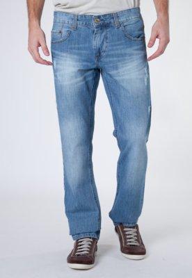Calça Jeans Sawary Reta Puídos Azul