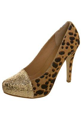 Sapato Scarpin Onça Glitter Marrom - Raphaella Booz