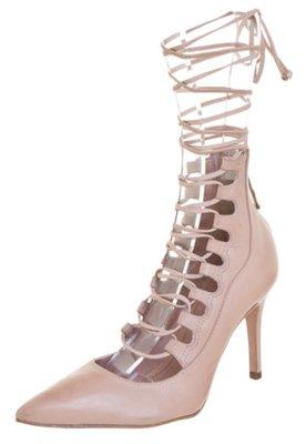 Sapato Scarpin Biondini Gladiador Amarração Nude