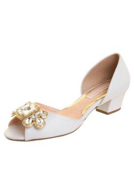 Sapato Scarpin Mezzo Punto Aberto Pedraria Branco