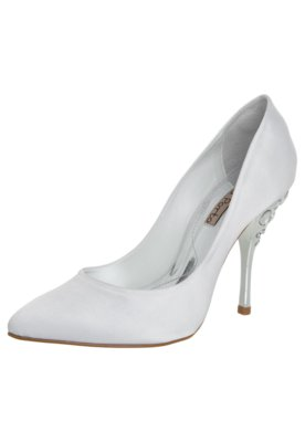 Sapato Scarpin Laura Porto Salto Pedraria Branco