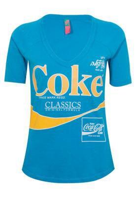 Blusa Slim Coca Cola Stamp Azul - Coca Cola Clothing
