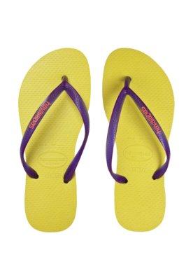 Sandália Havaianas Slim Logo Pop Up Amarela