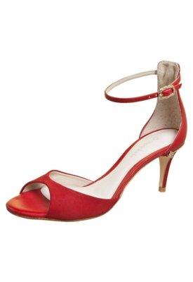 Sandália Capodarte Salto Baixo Bicolor Vermelha