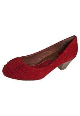 Sapato Scarpin Total Comfort Salto Baixo Matelassê Vermelho...
