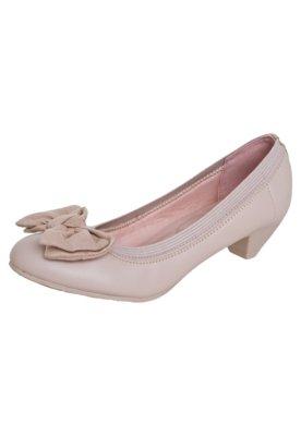 Sapato Scarpin  Moleca Salto Baixo Laço Camurça Bege