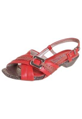 Sandália Comfortflex Salto Baixo X Vermelha