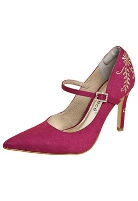 Sapato Scarpin Bebecê Mary Jane Bordado Rosa