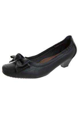 Sapato Scarpin Piccadilly Salto Baixo Laço Preto