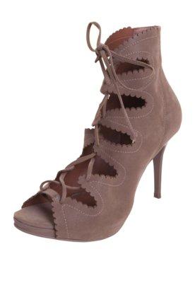 Ankle Boot Di Cristalli Amarração Marrom