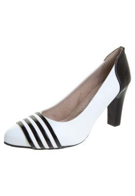 Sapato Scarpin Miucha Detalhe Tirinhas Verniz Branco