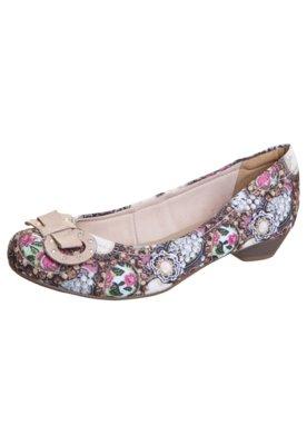 Sapato Scarpin Bebecê Salto Baixo Laço Vazado Multicolorid...