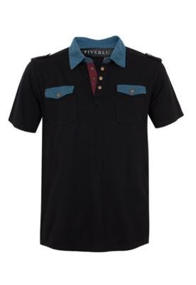 Camisa Polo FiveBlu Mix Preta