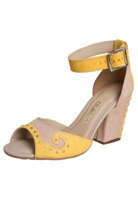 Sandália Dakota Salto Grosso Bicolor Amarela