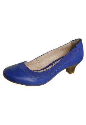 Sapato Scarpin Bottero Salto Baixo Elástico Azul