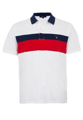 Camisa Polo Gant Chest Strippe Branca