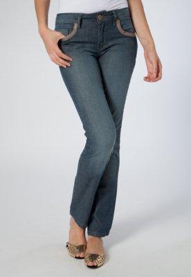 Calça Jeans Cantão Reta Recortes Azul