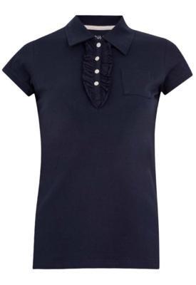 Camisa Polo Anna Flynn Babado Azul