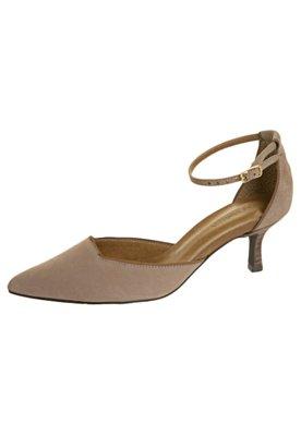Sapato Scarpin Andarella Semi Aberto Pulseira Bege