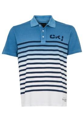 Camisa Polo Calvin Klein Jeans Bordado Azul