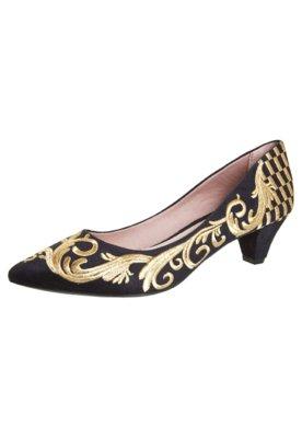 Sapato Scarpin FiveBlu Damasco Preto