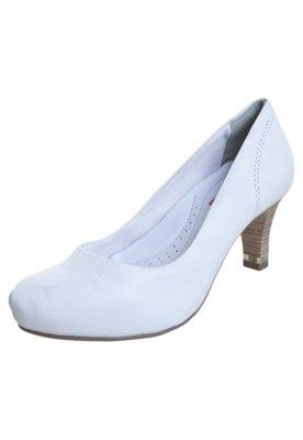 Sapato Scarpin Comfortflex Meia Pata Salto Amortecedor Branc...