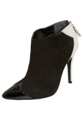 Ankle Boot My Shoes Recortes Preto/Branco