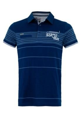 Camisa Polo Gangster Bordada Azul