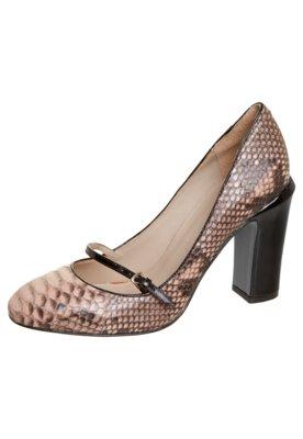 Sapato Scarpin Felicia Python Fivela Nude/Preto - Cavage