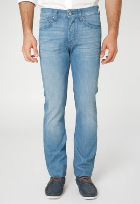 Calça Jeans 7 For All Mankind Slimmy Reta Clean Azul