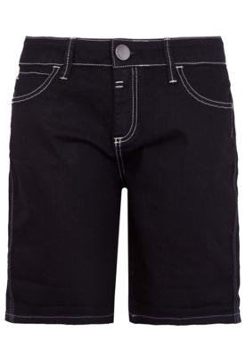 Bermuda Jeans Sacada Reta Costura Preta