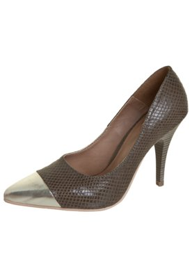 Sapato Scarpin Pink Connection Recorte Marrom